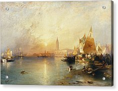 Sunset Venice Acrylic Print by Thomas Moran