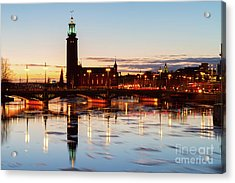 Sunset With Cityhall Of Stockholm Acrylic Print
