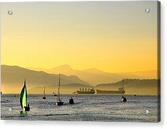 Sunset With Green Sailboat Acrylic Print
