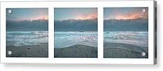 Acrylic Print featuring the photograph Sunset With Marine Layer Triptych by Alexander Kunz
