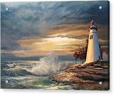 Sunset With Ohio Marble Head Lighthouse Acrylic Print