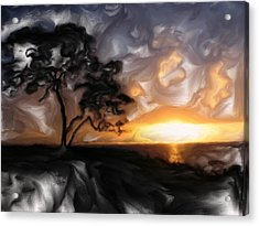 Sunset With Tree Acrylic Print by Mark Denham
