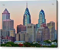 Acrylic Print featuring the photograph Sunsets Glow In Philly by Frozen in Time Fine Art Photography