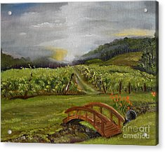 Sunshine Bridge At The Cartecay Vineyard - Ellijay Ga - Vintner's Choice Acrylic Print