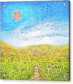 Acrylic Print featuring the digital art Sunshine Path - Field In Marin California by Joel Bruce Wallach