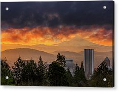 Sunsrise Over City Of Portland And Mount Hood Acrylic Print by David Gn