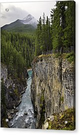 Acrylic Print featuring the photograph Sunwapta Falls Canyon by John Gilbert
