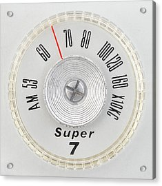 Super 7 Portable Radio Dial Acrylic Print by Jim Hughes