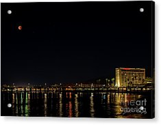 Super Blue Blood Moon Over Ventura, California Pier  Acrylic Print