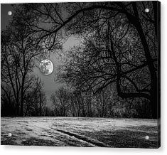 Super Blue Moon Rising Bw Acrylic Print