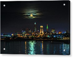 Super Full Moon Over Cleveland Acrylic Print