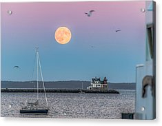 Super Harvest Moon Over Rockland Breakwater Acrylic Print by Tim Sullivan