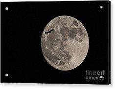 Super Moon And Plane Acrylic Print by Jennifer Ludlum