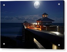 Acrylic Print featuring the photograph Super Moon At Juno Pier by Laura Fasulo