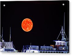 Acrylic Print featuring the photograph Super Moon Over Crazy Sister Marina by Bill Barber