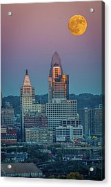 Super Moon Over Great American City Acrylic Print
