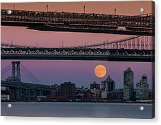 Super Moon Over Manhattan New York City Nyc Bridges Acrylic Print by Susan Candelario