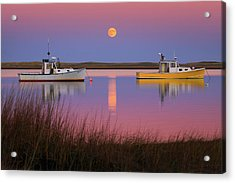Super Moon Over Nauset Beach Cape Cod National Seashore Acrylic Print by Dapixara Art