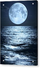 Super Moon Over Ocean Acrylic Print