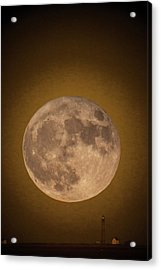 Super Moon Over Petit Manan Acrylic Print by Brent L Ander