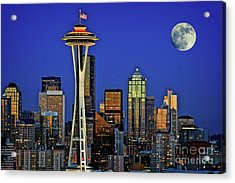 Super Moon Over Seattle Acrylic Print