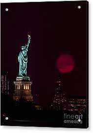 Super Moon Rising And The Statue Of Liberty Acrylic Print
