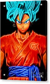 Acrylic Print featuring the digital art Super Saiyan God Goku by Ray Shiu