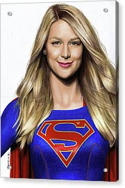 Supergirl Drawing Acrylic Print by Jasmina Susak