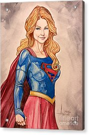 Supergirl Acrylic Print by Jimmy Adams