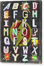 Superhero Alphabet Acrylic Print by Debbie DeWitt