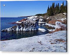 Superior Iced Shoreline Acrylic Print by Sandra Updyke