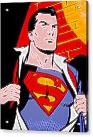Superman Pop Art Acrylic Print by Dan Sproul