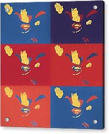 Superman Pop Art Panels Acrylic Print by Dan Sproul