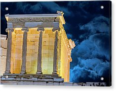 Acrylic Print featuring the photograph Supermoon In Acropolis by Nikos Stavrakas