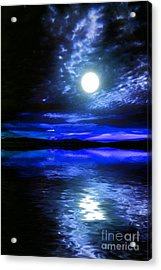 Supermoon Over Lake 2 Acrylic Print