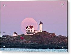 Supermoon Over Nubble Lighthouse Acrylic Print