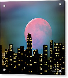 Acrylic Print featuring the digital art Supermoon Over The City by Klara Acel