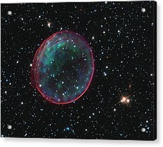 Acrylic Print featuring the pyrography Supernova Bubble Resembles Holiday Ornament by Artistic Panda