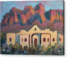 Acrylic Print featuring the painting Superstition Mountain Evening by Diane McClary