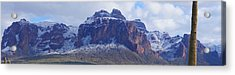 Acrylic Print featuring the photograph Superstition Mountain Snowfall by Broderick Delaney