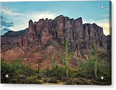 Superstition Mountains And Saguaro Acrylic Print