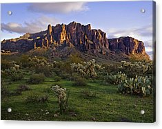 Superstitions Mountains On Green Acrylic Print