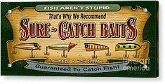 Sure Catch Baits Sign Acrylic Print by Jon Q Wright