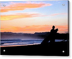 Surf At Sunset Acrylic Print