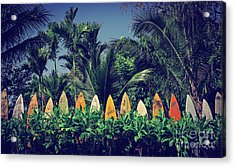 Acrylic Print featuring the photograph Surf Board Fence Maui Hawaii Vintage by Edward Fielding