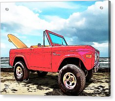 Surf Bronco Beyond The 4 Wheel Drive Only Sign Padre Island Acrylic Print