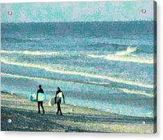 Surf Brothers Acrylic Print by Cheryl Waugh Whitney