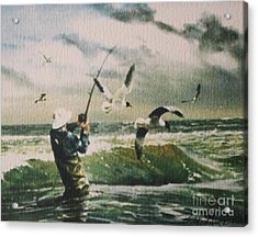 Surf Casting For Striped Bass At Gull Rock Acrylic Print
