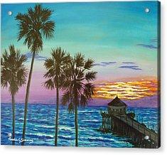 Surf City Sunset Acrylic Print
