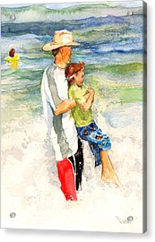 Acrylic Print featuring the painting Surf Play by Nancy Watson